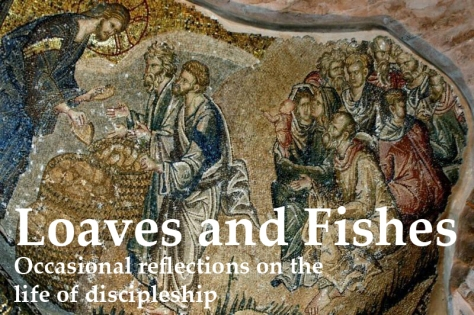 Miracle of the Loaves and Fishes mosaic icon for blog