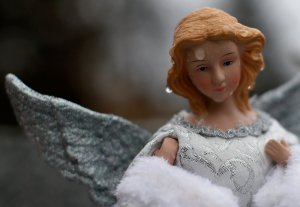 RAIN DROPS SEEN ON ANGEL FIGURINE AT MEMORIAL TO SANDY HOOK SCHOOL SHOOTING VICTIMS