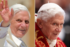 Side-by-side images of Pope Benedict XVI from 2005, 2013