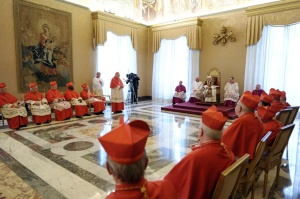 Pope Benedict XVI attends meeting at Vatican announcing his resignation