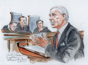 An artist's rendering shows attorney Charles Cooper arguing in support of California's Proposition 8 in the U.S. Supreme Court in Washington March 26. The court was hearing oral arguments on the constitutionality of California's law banning same-sex marr iage (CNS photo/Art Lien, Reuters).