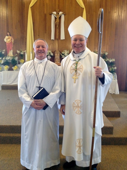 Ron Mathews—deacon candidate—stands with Bishop Edward Burns after Mathews' installation as lector at St. Gregory Nazianzen's in Sitka  during the Bishop's Pastoral visit to the parish on Sunday, April 7th.