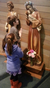 Children from Holy Name Parish in Ketchikan participate in the 'crowning of Mary' on May 1st. The Church officially dedicates the month of May to Mary the Mother of God.