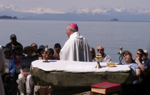 Bishop Edward Burns presides at an outdoor mass at the Shrine Columbarium in 2010.