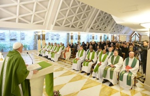 Pope Francis preaches during the May 27, 2013 mass in St. Martha's House.