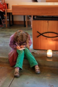 Journaling time in the Shrine chapel.