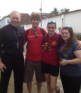 Bishop Edward Burns of the Diocese of Juneau in Rio with WYD pilgrims from Southeast Alaska.
