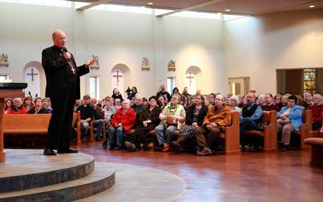 An estimated 700 people pack Our Lady of Guadalupe Parish-Anchorage, Alaska for a public talk by Cardinal Timothy Cardinal Dolan on March 24. — Photo by Ron Nicholl