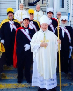 Bishop Edward Burns stands in front of the Cathedral of the Nativity of the Blessed Virgin Mary, Juneau, with members of the Alaska Knights of Columbus. The Alaska Knights held their 2014 convention in Juneau the weekend of April 25 - 24.