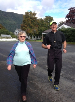 Anne Morris (St. Gregory DRE) and Fr. Andy Sensenig, OMI, pray the rosary while walking and running in Sitka, Alaska.