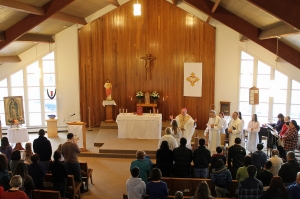 St. Gregory parish in Sitka gathers for the installation as pastor of Fr. Andrew Sensenig, OMI.