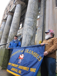 Jim Betts and Leo DeMeo of the downtown Juneau Knights of Columbus chapter join the Rally for Life in front of the State Capital building on Jan. 22, 2015.