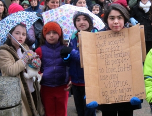 Children join the Rally for Life in front of the State Capital in Juneau on Thursday, Jan. 22, 2015.
