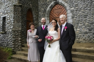 Jeanne and Jack Jordan stand in front of the Shrine chapel with their newly married daughter, Katie, and her husband George Schaaf.