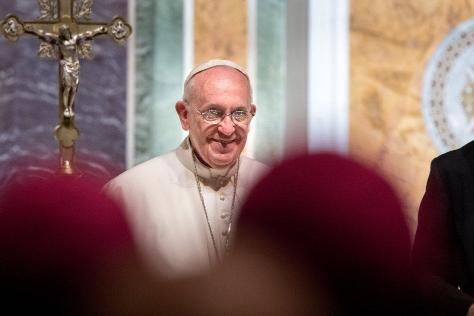 Pope Francis smiles during a prayer meeting with U.S. bishops at the Cathedral of St. Matthew the Apostle in Washington Sept. 23. (CNS photo/Lisa Johnston, St. Louis Review) See POPE-US-BISHOPS Sept. 23, 2015.