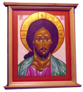 Icon of Christ Mounted on Wall cropped